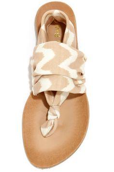 Dirty Laundry Beebop Zig Zag Natural Thong Sandals