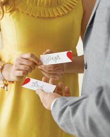 Cute Idea- Perfect Pairs Conversation Starter - Martha Stewart Weddings Inspiration