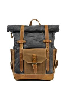 Cheap canvas backpack, Buy Quality backpack men directly from China canvas backpack men Suppliers: 9159 Retro color Wax Waterproof Canvas Backpack Man With Genuine Leather Computer Bag large Capacity Canvas Backpack Vintage Leather Backpack, Leather Backpack For Men, Canvas Leather, Cow Leather, Waxed Canvas, Leather Bags, Leather Handle, Mochila Retro, Waterproof Laptop Backpack