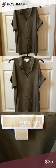 Michael Kors Cold Shoulder Michael Kors army green blouse - collar - cold shoulders - short sleeves - button down front - silky material. MICHAEL Michael Kors Tops Blouses