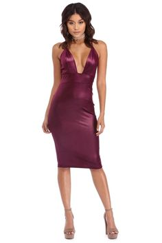 Burgundy Shine Through Midi | Let your inner beauty shine through! This sexy midi dress features a plunging neckline, spaghetti straps with a cross back, a wide banded waist and a shiny velvet fabric.