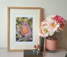 Fine art print of my Original Colour pencil artwork Robin Part of my bird series painted with colour pencil. Printed on canson pixma platinum and ready to frame. Paper size image size is x Please note the frame is not included. Robin, My Etsy Shop, Unique Jewelry, Frame, Handmade Gifts, Illustration, Girls, Check, Artwork