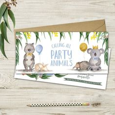 This invitation forms part of my Banjos Bushland Bash range. It features a mix of our delightful Australian wildlife with extra party adornments. There are both blue and pink colorways available. For matching products in the blue colorway, see the link below: Half Birthday Baby, First Birthday Party Themes, Boy Birthday Parties, Birthday Party Decorations, Australian Party, Australian Animals, Party Invitations Kids, Animal Birthday, Childrens Party