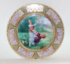 Royal-Vienna-Art-Nouveau-Porcelain-Hand-Painted-Plate-Austria-Circa-1920