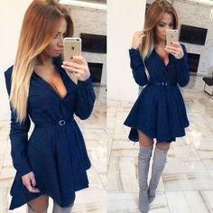 How nice New Wave Point Star Checkered Shirt Dress Long-sleeved Swallowtail Dress ! I like it ! I want to get it ASAP! #dress #party #sexy #nice  #fashion #women