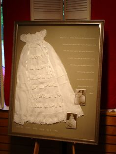 Shadow box ideas like military shadow box ideas, diy shadow box ideas, shadow box frame ideas, newbron shadow box, and etc Shadow Box Memory, Diy Shadow Box, Shadow Box Frames, Military Shadow Box, Baptism Gown, Vintage Display, Christening Gowns, Heirloom Sewing, Sewing Box