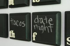 Calendar made of wooden squares & chalkboard paint.