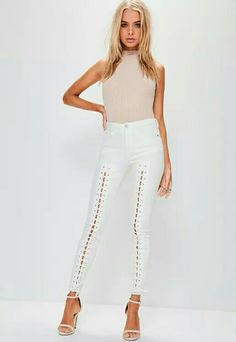 Embrace the lace up trend with these dreamy camel jeans - featuring a super skinny fit, waist clinching mid rise and lace up detailing to the front. Camel Jeans, White Jeans, Super Skinny Jeans, Skinny Fit, Going Out Outfits, High Waist Jeans, Missguided, Lace Dress, Lace Up