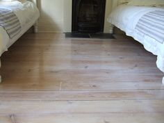 Pitch pine floor after lime washing
