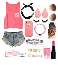 """Pink"" by blkleynen on Polyvore featuring One Teaspoon, Converse, Kate Spade, Accessorize, Forever 21, Smashbox, women's clothing, women's fashion, women and female"