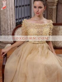 luxury off shoulder beading bodice prom dress with chiffon a line skirt top quality