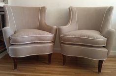 Find of the day!!! Etsy has just about everything for the home...Vintage pair of Slipper Chairs in Linen Grey by theupcyclehabit, $300.00