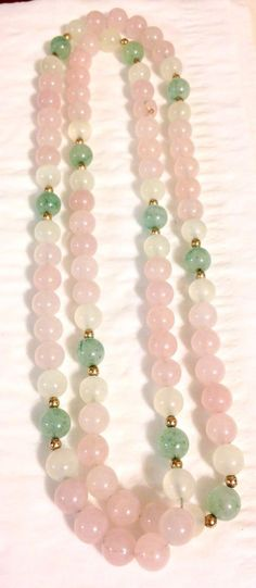 "Vintage Rose Quartz Green Jade 8mm Bead Necklace 30"" Chinese Export Jewelry 