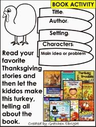 Story Elements - Turkey Book Activity  Endless Teaching Ideas by Gretchen Ebright
