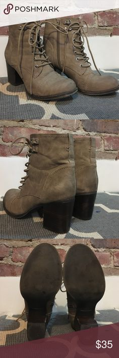 """Madden Girl Lace Up Booties Barely worn, like new!! Neutral colored booties with 3"""" heel, perfect for the fall! Size 8.5m, run true to size. Hope they find a good home! Madden Girl Shoes Ankle Boots & Booties"""