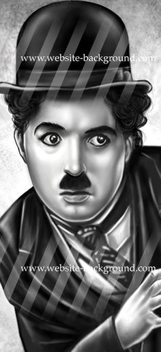 "#WebsiteBackground Cinema: ""The lovely and timeless face of Charlie Chaplin peeping out from behind your website or blog! Charlie Chaplin by Andycomic. Digital Painting."" Available in 3 widths on www.website-background.com"