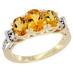 14K Yellow Gold Natural Citrine Ring 3-Stone Oval Diamond Accent. This Ring is made of solid 14K Gold set with Natural Gemstones and accented with Genuine Brilliant Cut Diamonds.