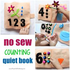Make a No Sew Counting and Numbers Quiet Book for your toddler, preschooler or special needs child. Quiet books are great for hands on learning! Quiet Time Activities, Counting Activities, Kids Learning Activities, Toddler Activities, Sensory Activities, Learning Centers, Preschool Ideas, Inspiration For Kids, Creative Inspiration