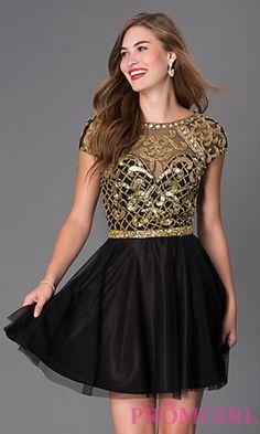 Short Cap Sleeve Open Back Primavera Homecoming Dress