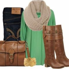 LOVE this look! gotta have my hollister jeans and i also love the mint green shirt with the cream colored infinity scarf! and i love how the boots and the bag are the same brown! this outfit is a must have for fall and winter! Cute Fall Outfits, Fall Winter Outfits, Autumn Winter Fashion, Summer Outfits, Look Fashion, Fashion Outfits, Womens Fashion, Fall Fashion, Fashion Ideas