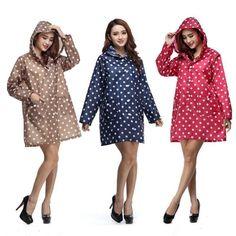 Women Polka Dot Raincoat Rainwear Rain Coat Poncho Jacket Hood Hooded Waterproof #RaincoatsForWomenPolkaDots