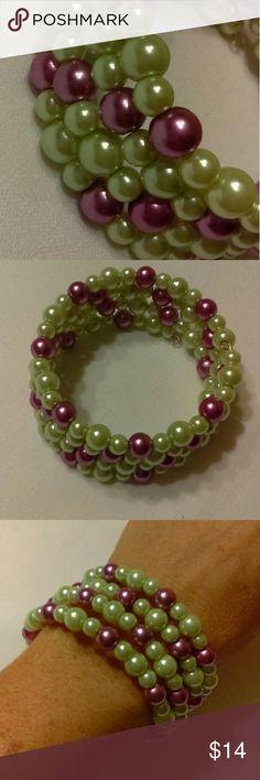 Handmade Memory Wire Bracelet Green/Purple Handmade memory wire bracelet made with light green and purple glass pearls. Jewelry Bracelets