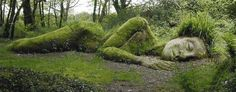 The Mud Maid Sleeping on Woodland Walk  The Lost Gardens Of Heligan  Heligan, Pentewan. St.Austell, Cornwall