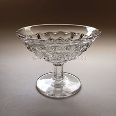 Fostoria American Flared Low Sherbet - it is one of many dessert dishes that the Fostoria Glass Company made. Learn more about the different pieces!