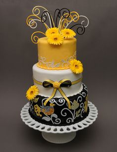 Yellow and Black Wedding Cake