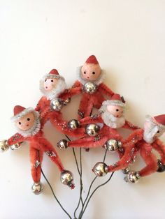 Vintage pipe cleaner Santa ornaments Christmas by sweetsalvage, $12.00