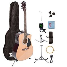 Trendy 41 Inch Full Size Cutaway 6 Steel String Spruce Beginner Acoustic Guitar Package with ClipOn ETuner Extra Strings Strap Picks and Polishing Cloth Natural ** Continue to the product at the image link.Note:It is affiliate link to Amazon.