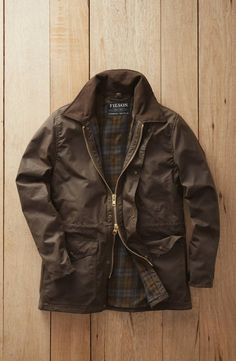 Filson Mile Marker waxed cotton jacket with tartan lining Waxed Cotton Jacket, Wax Jackets, British Style, Marker, Shop Nordstrom, Menswear, Leather Jacket, Mens Fashion, Winter Coats
