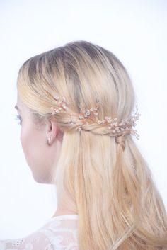 Bridal hair vine, Hair vine, Rose gold hair vine, baby breath hair vine, wedding hair vine, Rose gold, Rose gold wedding accessories, vine by CharlotteFarrBridal on Etsy https://www.etsy.com/uk/listing/263894165/bridal-hair-vine-hair-vine-rose-gold