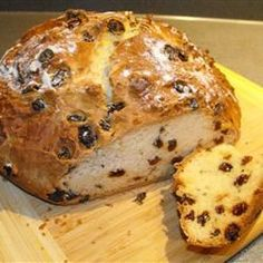 Irish Soda Bread Recipe. I use half the amount of raisins, double the amount of caraway seeds, greek yogurt instead of sour cream and only bake for 45 minutes.