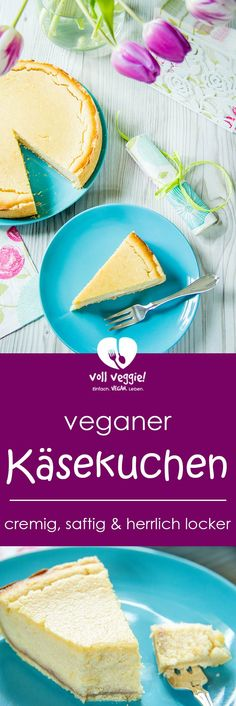 Vegan cheese cake with a shortcrust pastry base- Veganer Käsekuchen mit feinem Mürbeteigboden Vegan cheese cake without egg © voll veggie! Vegan Cheesecake, Cheesecake Recipes, Muffins Double Chocolat, Baking Recipes, Whole Food Recipes, Apple Bite, Healthy Baked Chicken, Shortcrust Pastry, Delicious Vegan Recipes