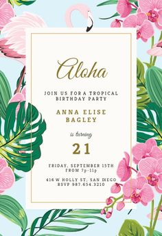 Lets Party - Birthday Invitation Template (free) Hawaiian Invitations, Luau Birthday Invitations, Beach Party Invitations, Birthday Invitation Templates, Flamingo Party, Flamingo Birthday, Flamingo Pool, Aloha Party, Neon Party
