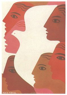 The women's faces come to the front while the bird disappears into the background.
