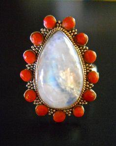 Moonstone Coral Sterling Silver Ring Vintage by RenaissanceFair