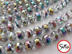 tCrystal 10mm Mirror Ball Rainbow Stripe Beads 1 strand. Starting at $6 on Tophatter.com!  Come on in & join the fun!