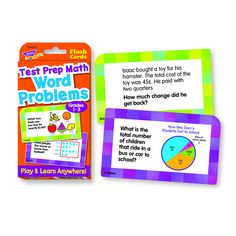 TREND Test Prep Math Word Problems Challenge Cards Grades for sale online 4th Grade Math, Grade 1, Math Test Games, Math Words, Math Word Problems, Test Prep, Fun Learning, Parents, Activities