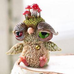 #handmade #owl #arttoy #artdoll #mushroom #toadstool