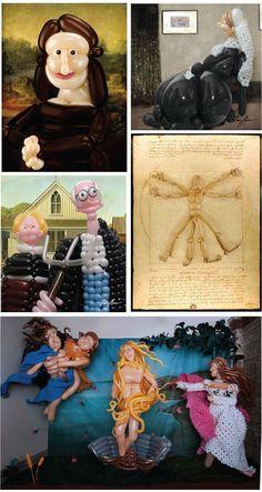 Clockwise: Mona Lisa (Leonardo da Vinci) Whistler's Mother (James Abbott McNeill Whistler) Vitruvian Man (Leonardo da Vinci) The Birth of Venus (Sandro Botticelli) American Gothic (Grant Wood)