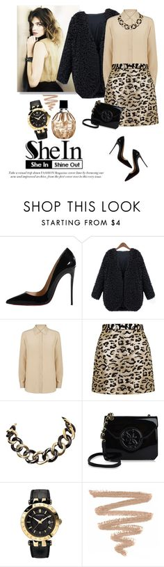 """How to wear fur coat"" by lera-chyzh ❤ liked on Polyvore featuring Christian Louboutin, MaxMara, Topshop, GUESS, Versace and Jimmy Choo"