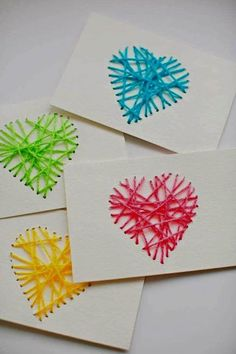 Craft ~ Make String Heart Yarn Cards. These make pretty handmade Valentine cards and are a great threading activity for kids! Kids Crafts, Valentine Crafts For Kids, Family Crafts, Valentines Diy, Valentine Cards, Kids Diy, Homemade Valentines Day Cards, Homemade Cards, Crafty Kids