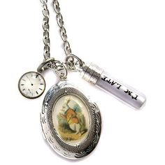 Hoolala I'm Late White Rabbit Locket Necklace ($40) ❤ liked on Polyvore featuring jewelry, necklaces, charm jewelry, locket charms, charm lockets, charm necklace and locket necklace