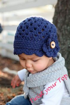 Scalloped Baby girl Beanie with Flower by Twistyourtop on Etsy, $25.00