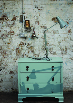 Shamus' stencilled shadow cabinet in Oval Room Blue and Green Blue by Farrow Ball. Click to see a 'how to' guide!