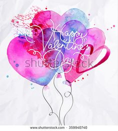 Valentine's Day greeting card with watercolor balloon hearts lettering Happy Valentine day drawing with pink and blue on crumpled paper background