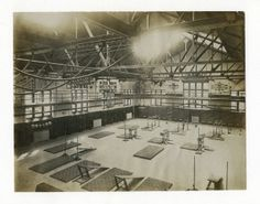 A.G. Spalding and Bros. Model Gymnasium, Physical Culture Exhibit, Louisiana Purchase Exposition. (1904 Olympics). With overhead apparatus drawn up and out of the way.