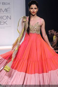 A model displays a creation by designer Anushree Reddy on Day 6 of the Lakme Fashion Week Winter/Festive 2013. #Fashion #Style #LFW